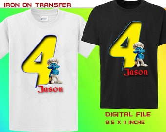 Smurf Iron On Transfer, Smurf Birthday Iron on Transfer, Smurf Personalize Birthday Shirt Iron On Transfer, Digital File Only