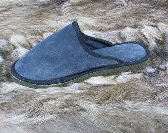 Greek Handmade Genuine Leather Μen's Slippers, Classic Style - SUEDE