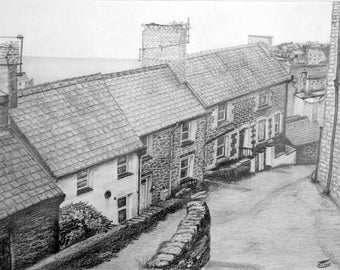 Barmouth Backstreets 1. Pencil Drawing. Limited Edition Print.