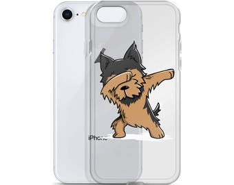 Funny Dabbing Yorkshire Terrier iPhone Case, Cute Yorkshire Terrier Gift, Yorkie Dog Dab Dance Phone Case