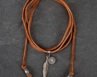 Brown Leather Choker Necklace with Crystal Charm