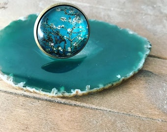 Flower rings, glass rings, handmade rings