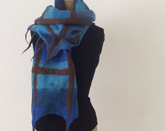 Blue and brown checkered felted scarf