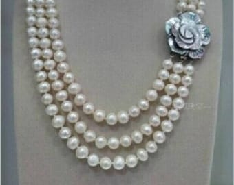 Triple strand 10 mm freshwater Australian South Sea white pearl necklace