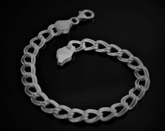 Charm Bracelet. 6mm Double Link Bracelet. 925 Sterling Silver. 6,7, 8 inch available