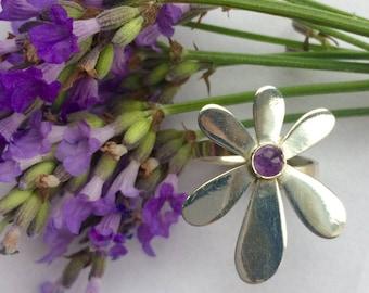 Sterling silver & amethyst flower ring, amethyst jewellery, flower jewellery, birthstone
