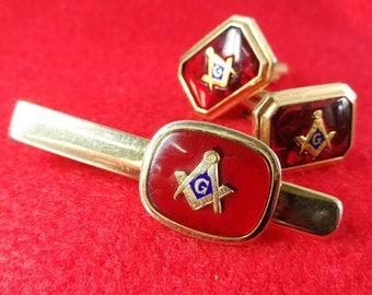 Masonic Cufflinks and Tie Clip set