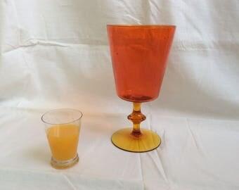 Mouth blown glass vase. Orange 60s vintage