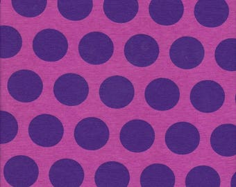 """Pink - Purple - Polka Dots - Cotton Lycra Fabric - Stretch Knit Fabric - 60"""" wide - Sold by the yard - Free Shipping - KnitFabricUSA"""
