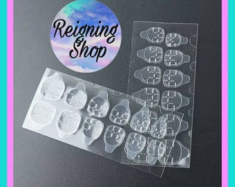 Press on Nail Adhesive Tabs  2 Sheets  24 Double Sided clear nail stickers 