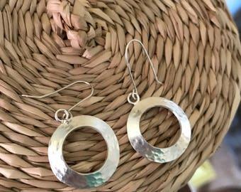 Sterling Silver Dome Hoop Earrings