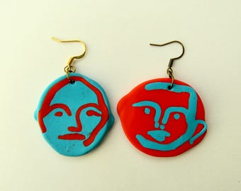 Handmade Abstract Modelling Clay Face Earrings