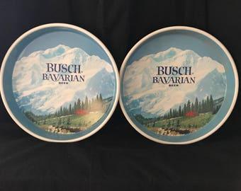 Vintage Busch Bavarian Beer Round Metal Serving Tray