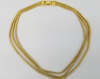 "Monet vintage 3 strand gold tone bib necklace 16"""