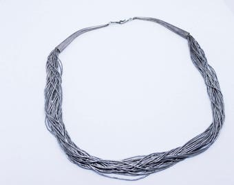 Multi-row silver necklace in 925 sterling