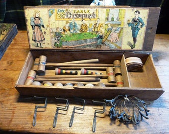Antique TABLE-CROQUET - game, table-croquet, complete for 6 persons - ACC488