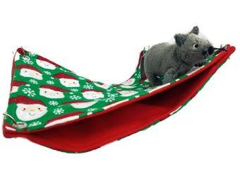 Rat Hammock - Rat Cage Accessories - Santa Christmas Double Decker Snuggle Hammock- Sugar Glider Hammock