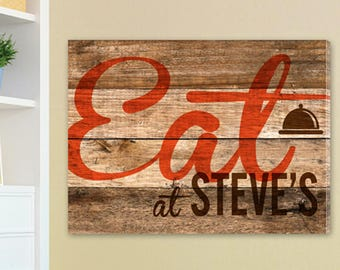 Personalized Wood Restaurant Sign Canvas Print - Restaurant Canvas Print - Wood Restaurant Canvas -  Personalized Kitchen Canvas