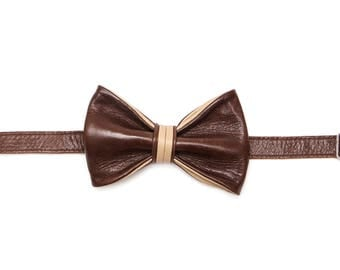 Castagna Leather Bow Tie