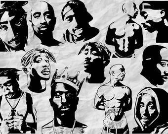 12 Tupac Silhouettes | SVG cut files | cliparts | 2pac stencils | vectors | hip hop decoration | instant download | vinyl decal svg