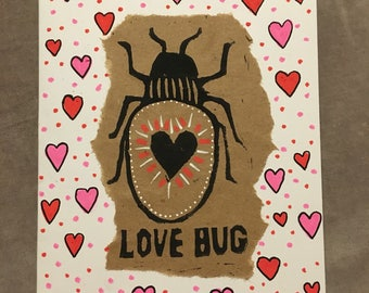 Love bug card with hearts