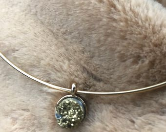 Silver choker with hematite druzy crystal pendant