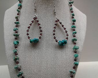 Turquoise Nugget and Garnet Necklace Earring Set SW-5