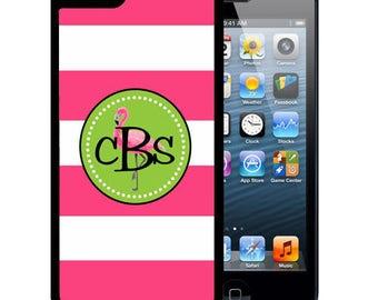 Monogrammed Rubber Case For iPhone X, 8, 8 plus, 7, 7 plus, 6s, 6s plus, 5, 5s, 5c, SE - Pink Stripes Flamingo