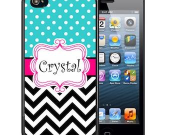 Monogrammed Rubber Case For iPhone X, 8, 8 plus, 7, 7 plus, 6s, 6s plus, 5, 5s, 5c, SE - Black Chevron Polks Dot