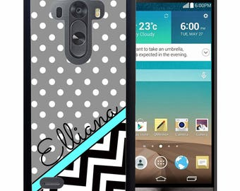 Personalized Rubber Case For LG  3, 4, 5, 6 - Chevron Gray polka Dots
