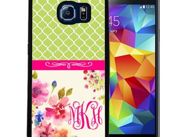 Monogrammed Rubber Case For Samsung S5, S6, S6 edge, S6 Edge Plus, S7, S7 Edge,  8, 8 plus - Lime Moroccan Flowers