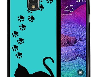 Rubber Case For Samsung Note 3, Note 4, Note 5, or Note 8- Cat Paws Silhouette