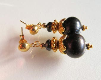 Earrings Balck Pearl