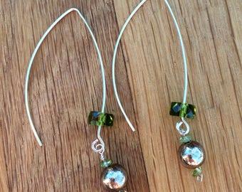 Green drop earrings|boho earrings|dangly earrings|gift for her|silver wire earrings|gift