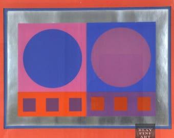Silk Screen Pop Op Art Geometric Framed Wall Claude Tousignant Style Mid Century Modern Vintage