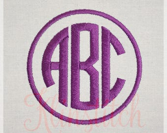 Circle Monogram Embroidery Fonts 6 Sizes Three Letters Monogram Fonts BX Fonts Embroidery Designs PES Alphabets - Instant Download