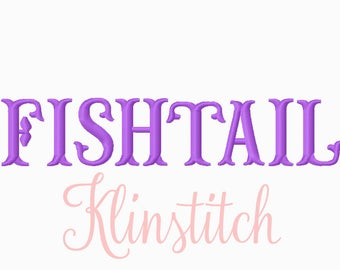 50% Sale!! Fishtail Embroidery Fonts 3 Sizes Fonts BX Fonts Embroidery Designs PES Fonts Alphabets - Instant Download