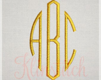 50% Sale!! Classic Oval Monogram Embroidery Fonts 7 Sizes Three Letters Monogram Fonts BX Fonts Embroidery Designs PES Alphabets