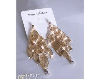 Golden Leafs With Diamonds Earrings