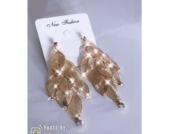Golden Leafs With Diamonds Earrings