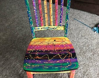 Crazy Rainbow, Hand Painted Whimsical Chair