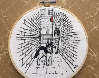 "Embroidery Art, A husky and a girl, ALLEY, 6"" Embroidery hoop art, Dog Embroidery, Contemporary art, Modern embroidery,Bunny embroidery"
