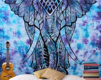 Boho Queen Size Mandala Tapestry - Tie Dye Elephant