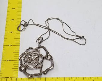 Vintage Sterling Silver Necklace with Sterling Pendant