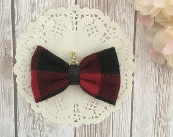 Red and black traveler's notebook bow charm