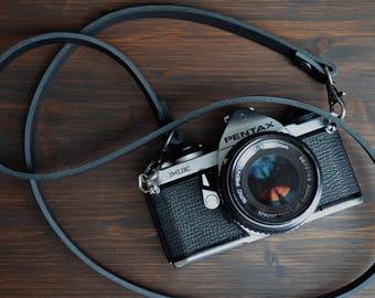 leather camerastrap black