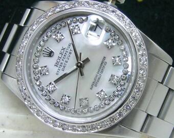"Rolex 31mm MidSize DateJust White MOP ""String"" Diamond Dial & Bezel Boxes Booklets Oyster Bracelet 18kt White Gold Steel"