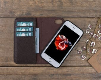 iPhone 7 Leather Case, iPhone 7 Detachable Wallet Case, Leather iPhone 7 Case, iPhone 7 Cover, Magnetic iPhone 7 Card Case, iPhone Case