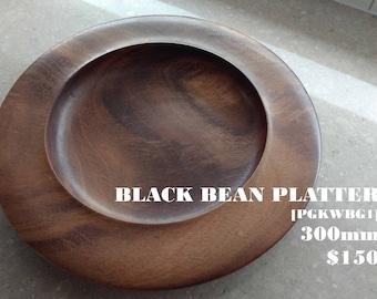 Black Bean Wooden Bowl / Timber Platter 300mm diameter