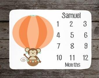Monkey Balloon Milestone Blanket